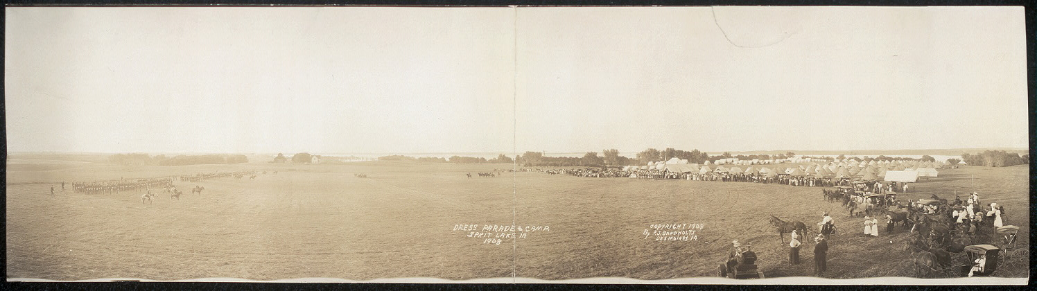 Dress parade & camp, Sprit [sic] Lake, IA, 1908
