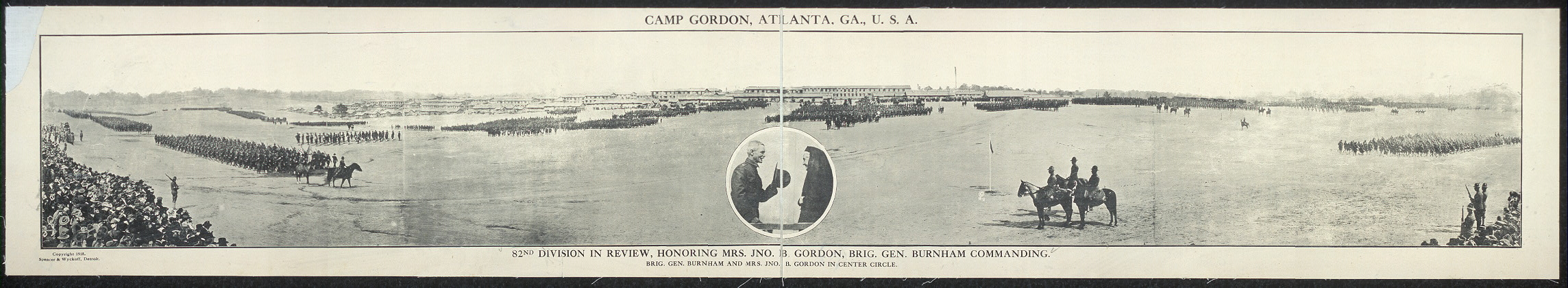 Camp Gordon, Atlanta, Ga., U.S.A.; 82nd Division in review, honoring Mrs. Jno. B. Gordon, Brig. Gen. Burnham commanding