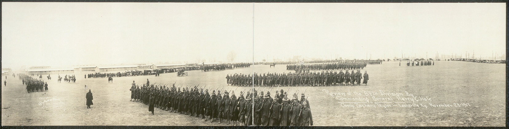 Review of the 84th Division by commanding General Harry C. Hale, Camp Zachary Taylor, Louisville, Ky., November 23, 1917