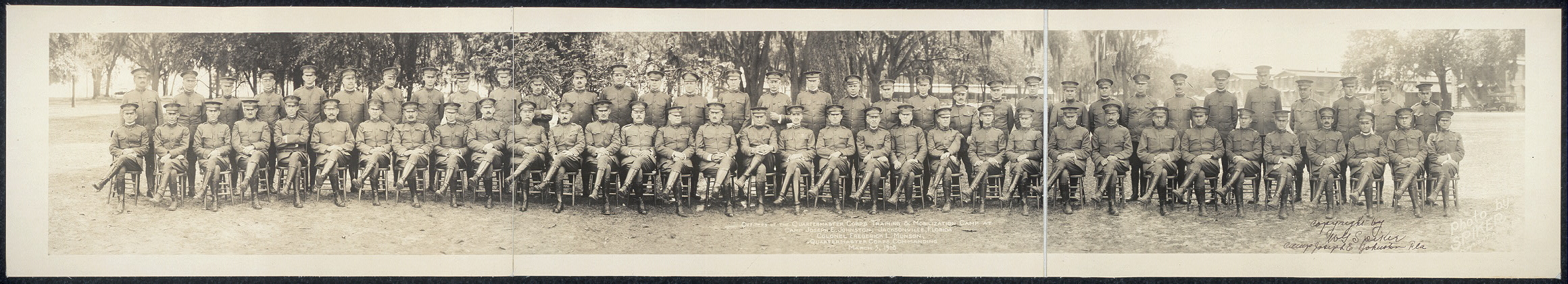Officers of the Quartermaster Corps Training & Mobilization Camp at Camp Joseph E. Johnston, Jacksonville, Florida, Colonel Frederick L. Munson, Quartermaster Corps, commanding, March 5, 1918