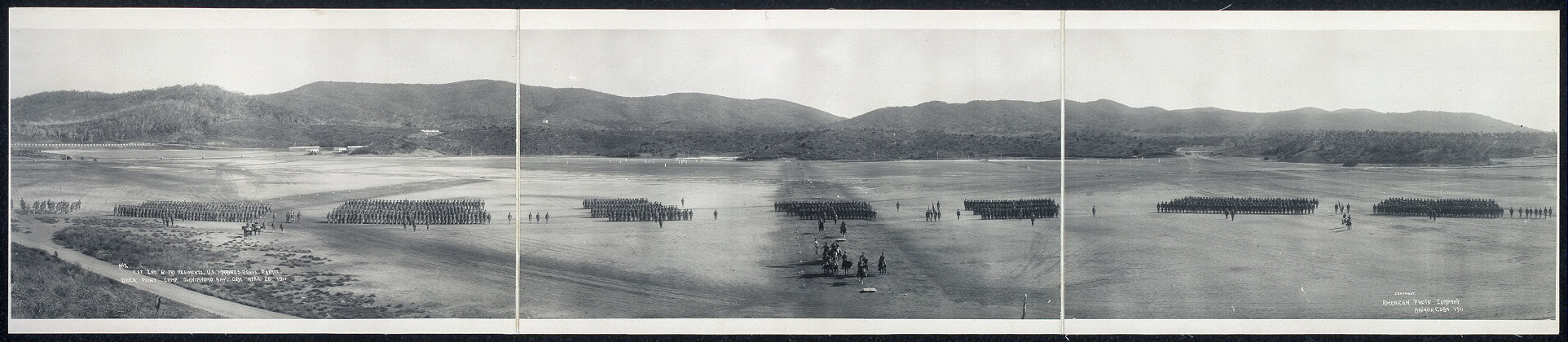 1st, 2nd & 3rd Regiments, U.S. Marines dress parade, Deer Point Camp, Guantanamo Bay, Cuba, April 26, 1911
