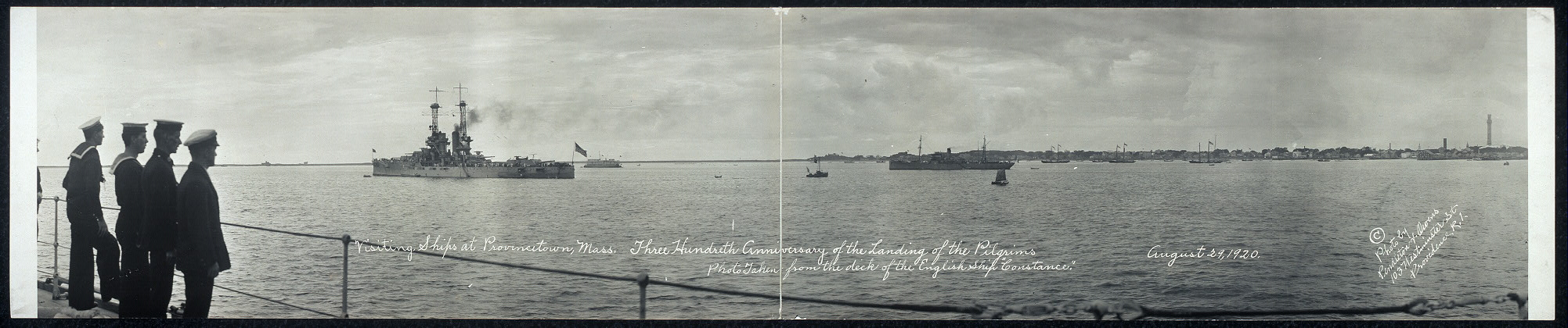"Visiting ships at Provincetown, Mass., three hundredth anniversary of the landing of the pilgrims; photo taken from the deck of the English ship ""Constance"", August 29, 1920"