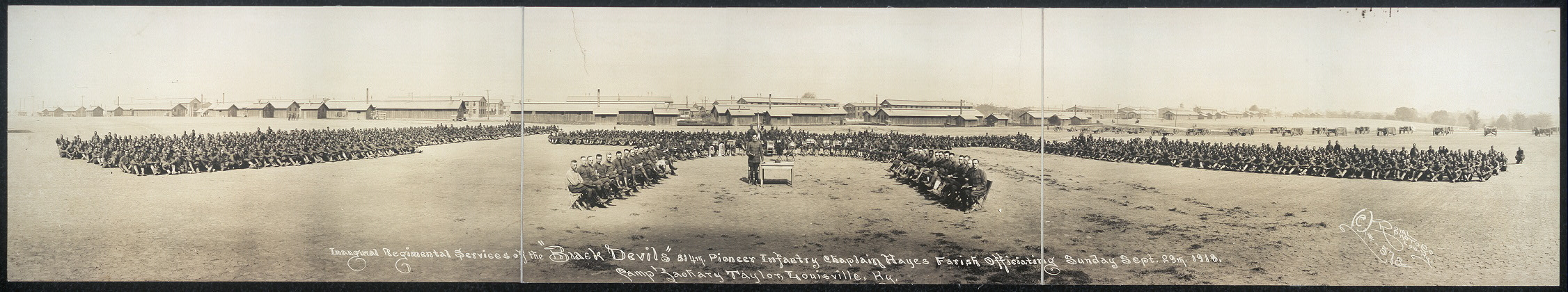 "Inaugural regimental services of the ""Black Devils"", 814th Pioneer Infantry, Chaplain Hayes Farish officiating, Sunday, Sept. 29th, 1918, Camp Zachary Taylor, Louisville, Ky."
