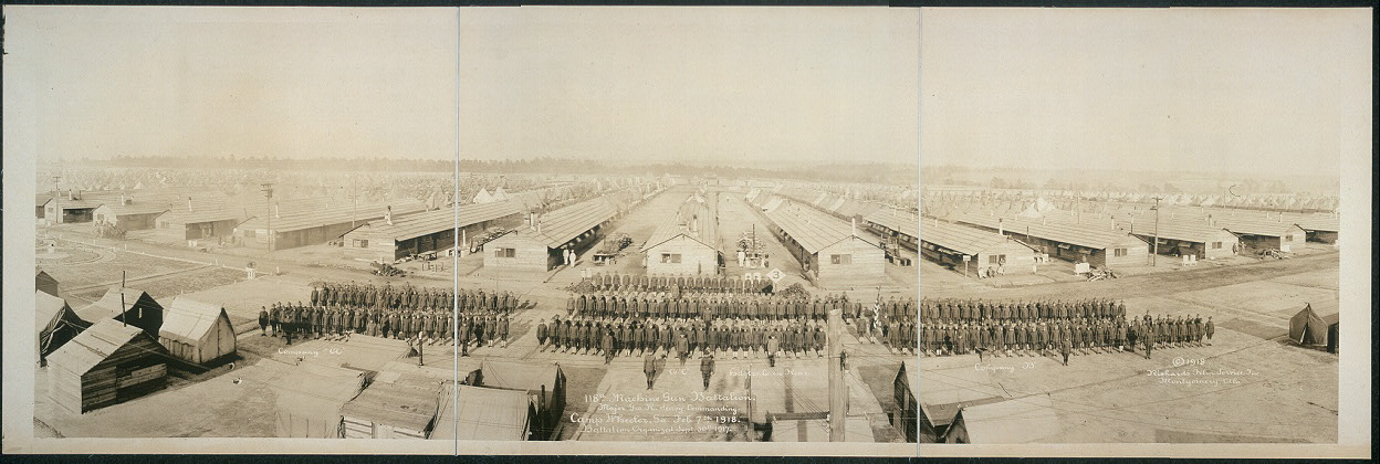 118th Machine Gun Battalion, Major Geo. R. Seavy, commanding, Camp Wheeler, Ga., Feb. 7th, 1918; Battalion organized Sept. 30th, 1917