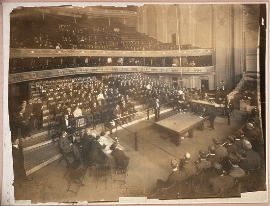 All Star Tournament, 18 Inch Balke Line, Chicago, May 7-14, 1906, Schaefer and Sutton banking for lead, Orchestra Hall