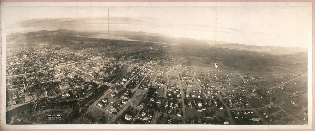Reno, Nev., looking North East, 1000 feet elevation from Lawrence Captive Airship