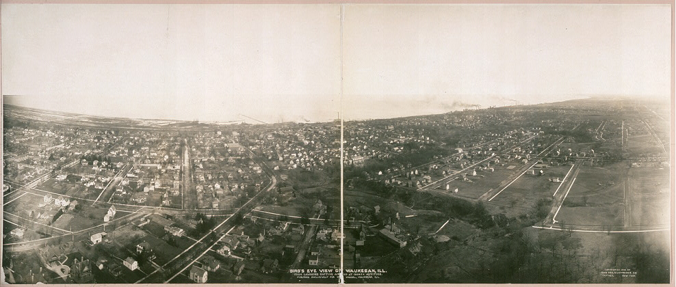 Bird's eye view of Waukegan, Ill., from Lawrence Captive Airship at 1000 ft. altitude. Published exclusively for W[...] Wandel, Waukegan, Ill.