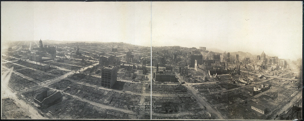 Ruins of San Francisco from captive airship by kite-journalist George Lawrence