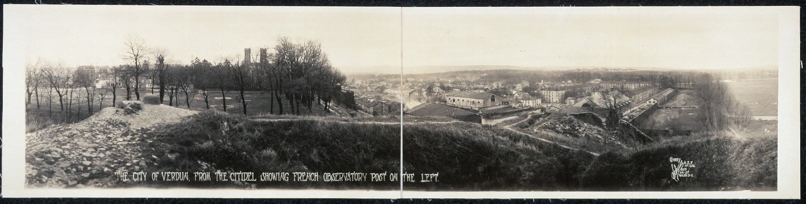 The city of Verdun, from The Citidel [sic], showing French observatory post on the left