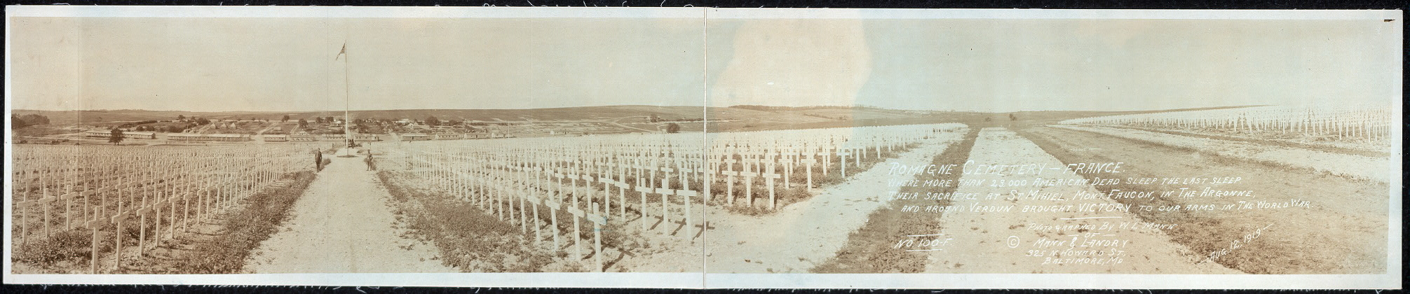 Romagne Cemetery, France. Where more than 23,000 American dead sleep the last sleep. Their sacrifice at St. Mihiel, Mont. Faucon, in the Argonne, and around Verdun brought victory to our arms in The World War