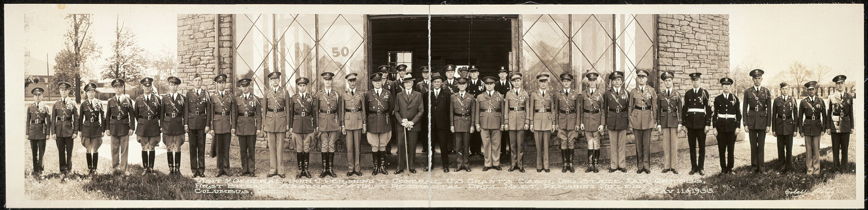 Visit of General John J. Pershing to General U. S. Grant's Cabin, Ohio State Fair Grounds, First Brigade Assembly and First Regimental Drill Meet, Pershing Rifles, Columbus, Ohio, May 11th, 1935