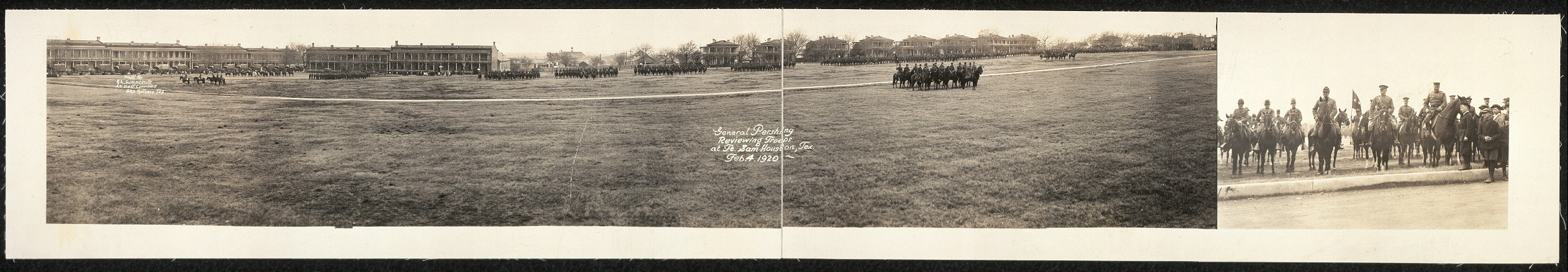 General Pershing reviewing troops at Ft. Sam Houston, Tex., Feb. 4, 1920