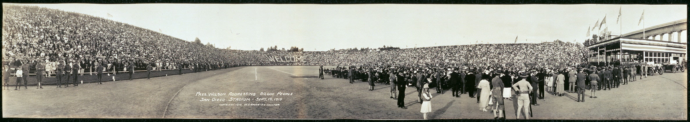 Pres. Wilson addressing 50,000 people, San Diego Stadium, Sept. 19, 1919