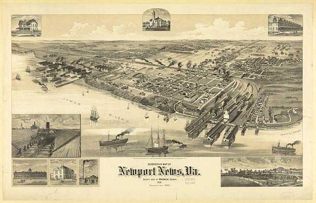 Perspective map of Newport News, Va. County seat of Warwick County 1891 population: 8000
