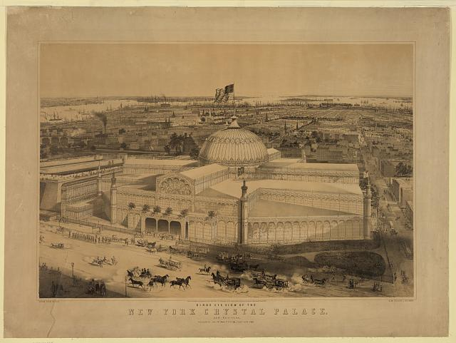 Birds eye view of the New York Crystal Palace and environs