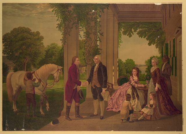 The reception of Lafayette at Mount Vernon, home of Washington