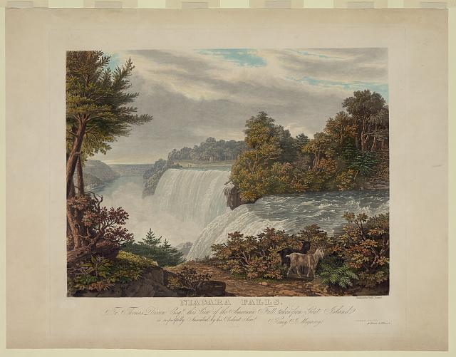 Niagara Falls. To Thomas Dixon esq. this view of the American Fall taken from Goat Island