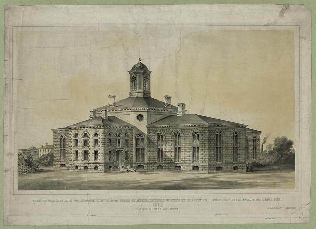 View of the new jail for Suffolk County, in the state of Massachusetts, erecting by the city of Boston upon Charles & North Grove Sts.