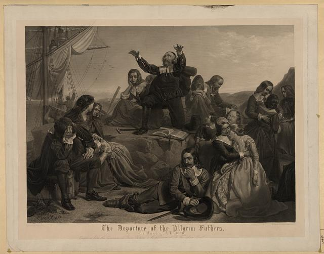 The departure of the pilgrim fathers, for America, A.D. 1620