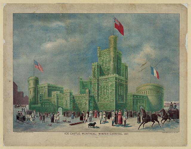 Ice castle, Montreal; winter carnival, 1887
