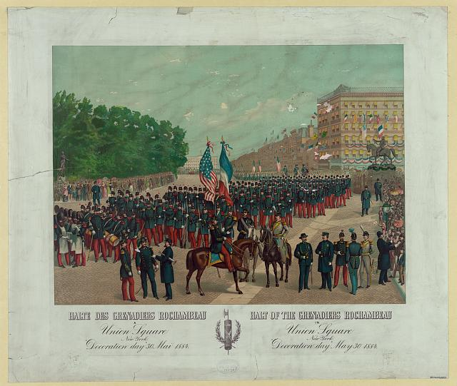 "Halt of the Grenadiers Rochambeau in Union Square New York. ""Decoration day"" May 30, 1884"