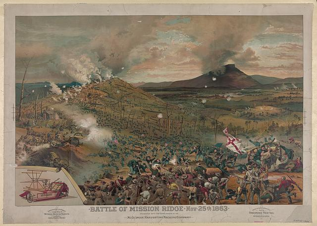 Battle of Mission [i.e., Missionary] Ridge, Nov. 25th, 1863 - presented with the compliments of the McCormick Harvesting Machine Company