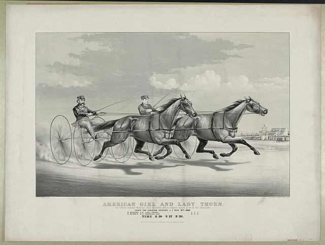 American Girl and Lady Thorn: in their great match for $2000 mile heats best 3 in 5 to wagons. Over the fashion course, L.I. May 10th 1869