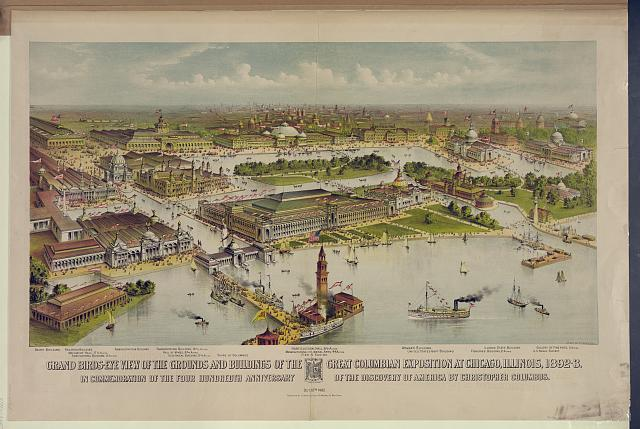 Grand birds-eye view of the grounds and buildings of the great Columbian exposition at Chicago, Illinois, 1892-3 In commemoration of the four hundredth anniversary of the discovery of America by Christopher Columbus.