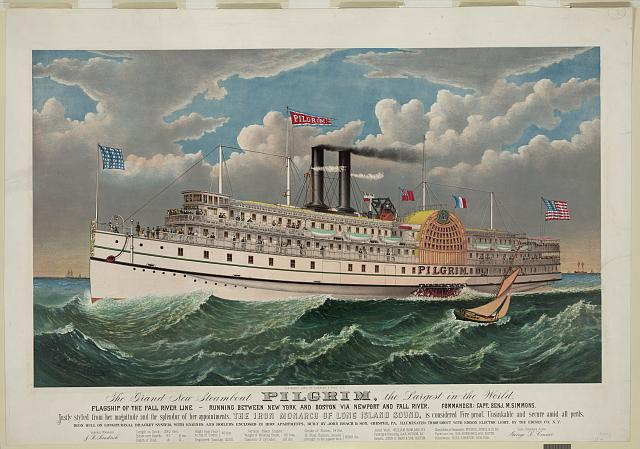 The grand new steamboat Pilgrim: the largest in the world: flagship of the Fall River line - running between New York and Boston via New port and Fall River - commander: Capt. Benj. M. Simmons