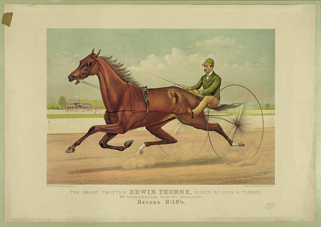 The grand trotter Edwin Thorne, driven by John E. Turner: by Thornedale, dam by Ashland