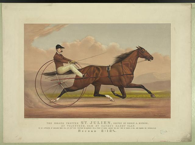The grand trotter St. Julien, driven by Orrin A. Hickok: by volunteer, dam by Sayre's Harry Clay