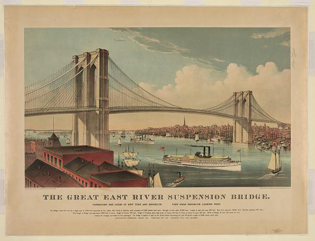 The great East River suspension bridge: connecting the cities of New York and Brooklyn, looking west
