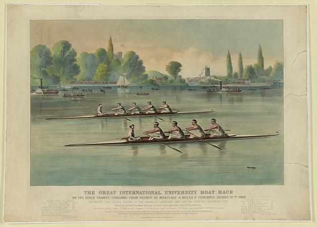 The great international university boat race On the river Thames (England) from Putney to Mortlake 4 miles 2 furlongs August 27th 1869 : Between the picked crews of the Harvard (American) and Oxford (English) universities.