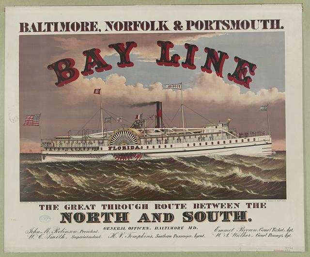The great through route between the north and south - Bay Line - Baltimore, Norfolk & Portsmouth
