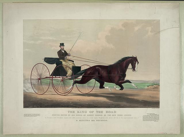The king of the road: Dexter driven by his owner Mr. Robert Bonner of the New York Ledger at Prospect Park Brooklyn August 31st 1869, trotting a mile to a road wagon. weighing with driver 319 lbs. in the unprecedented time of 2 minutes 21 3/4 seconds