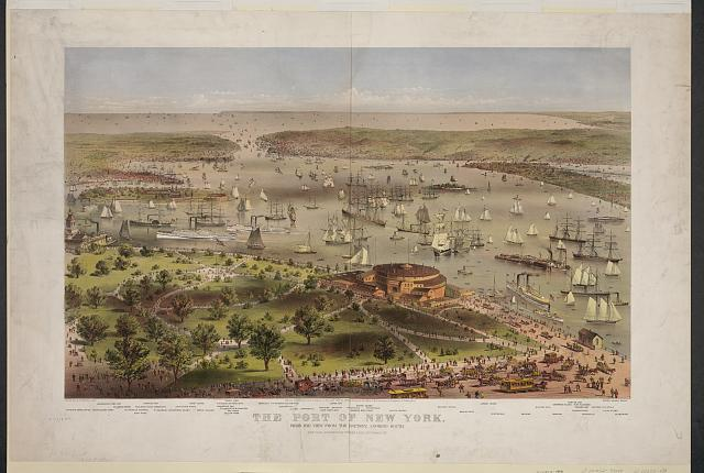 The Port of New York: birds eye view from the battery, looking South