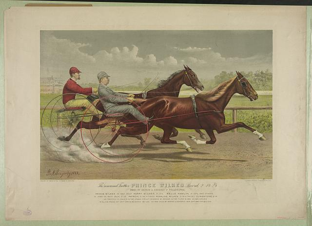 The renowned trotter Prince Wilkes record, 2:14 1/3; owned by George A. Singerly of Philadelphia