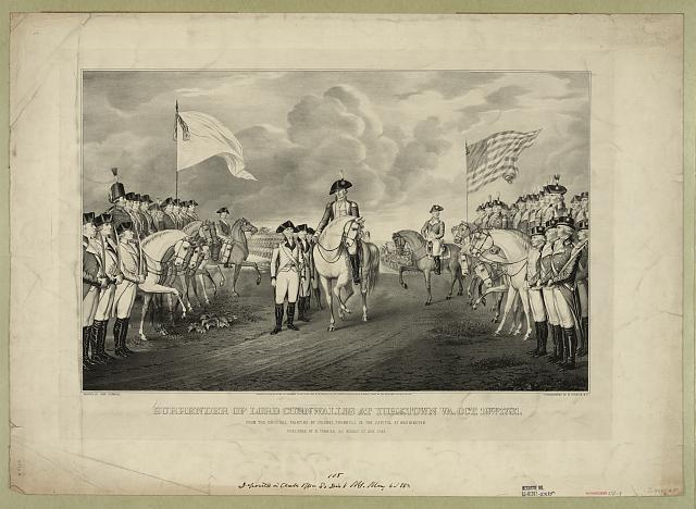 Surrender of Lord Cornwallis at Yorktown Va. Oct. 19th. 1781