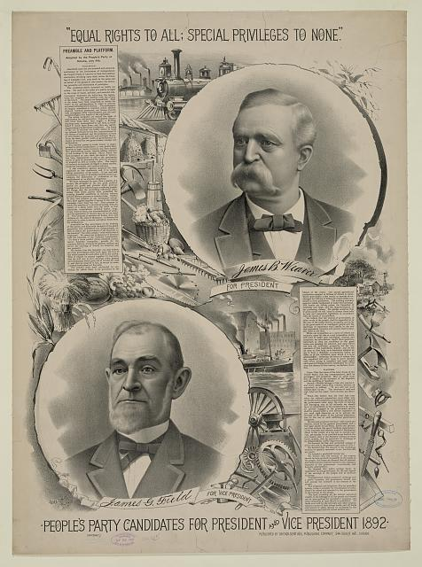 People's party candidates for president and vice president 1892