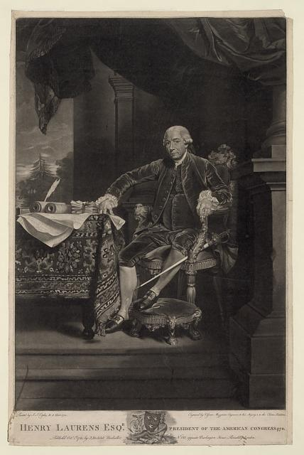 Henry Laurens Esq'r. president of the American Congress 1778