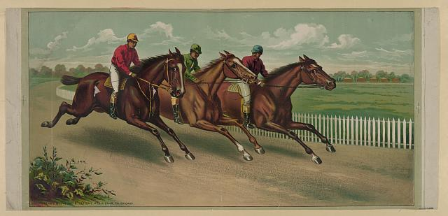 [Three men on horseback racing]