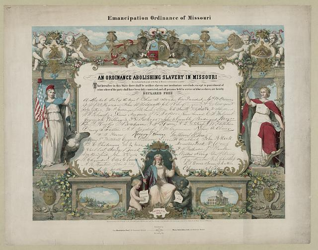 Emancipation Ordinance of Missouri. An ordinance abolishing slavery in Missouri