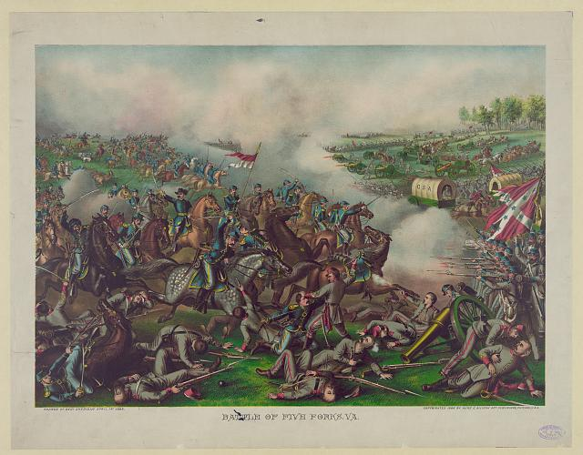 Battle of Five Forks, Va.--Charge of Genl. Sheridan April 1st 1865