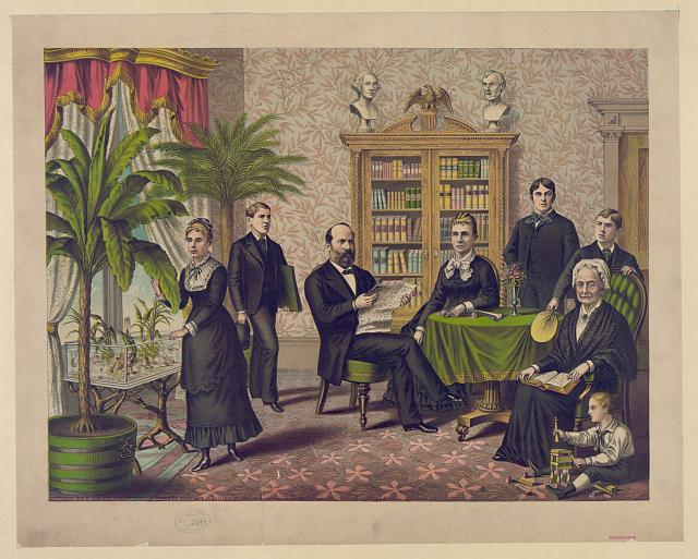 [James Garfield and family in library(?)]