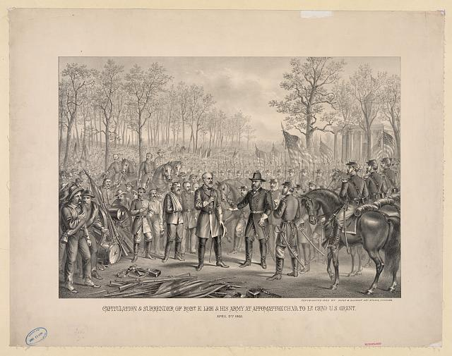 Capitulation & surrender of Robt. E. Lee & his army at Appomattox Chi., Va. to Lt. Genl. U.S. Grant. April 9th 1865