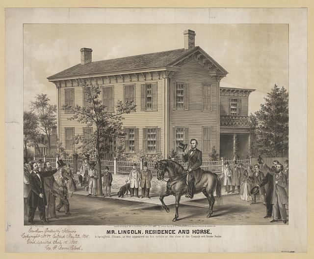 Mr. Lincoln. Residence and horse. In Springfield, Illinois, as they appeared on his return at the close of the campaign with Senator Douglas
