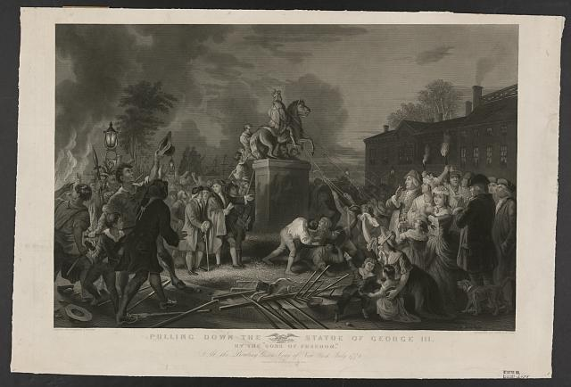 "Pulling down the statue of George III by the ""Sons of Freedom,"" at the Bowling Green, City of New York, July 1776"