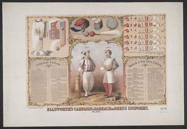 Ellsworth's campaign & barrack or dress uniforms. Plate 1