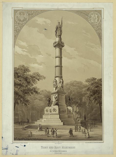 Army and Navy monument on the Boston Common, erected 1877