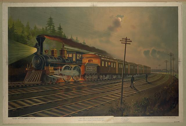 Night scene on the New York Central Railroad., American Express company's special express train